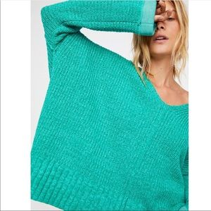 Free People • Green Take Me Over Sweater Oversized